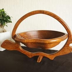 バリ製木製渦巻きバスケット/亀さん