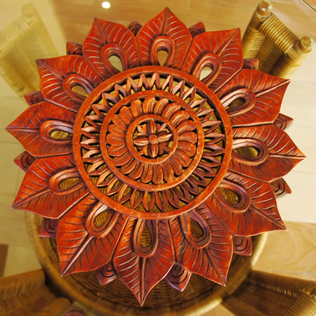バリ製丸形木彫りのレリーフ (リーフサークル)