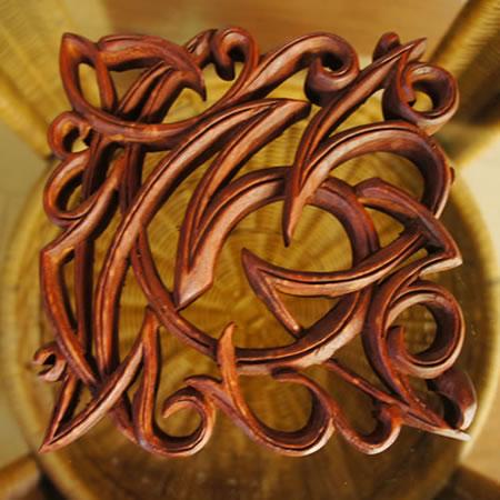 バリ製木彫りのレリーフ (モダンスクエア)