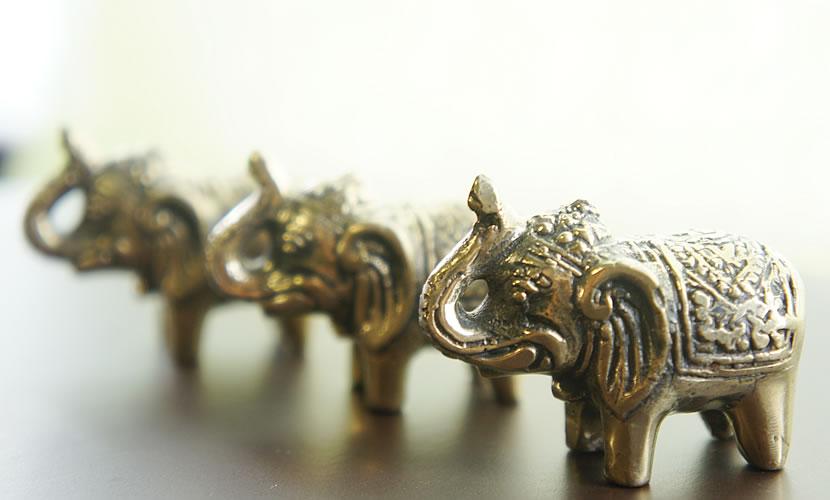 バリ製真鍮ミニ象さん人形/オブジェ