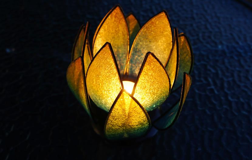 バリ製キャンドルホルダー/ロータス(オレンジ)