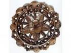 バリ製丸形木彫りのレリーフ(フランジパニ)
